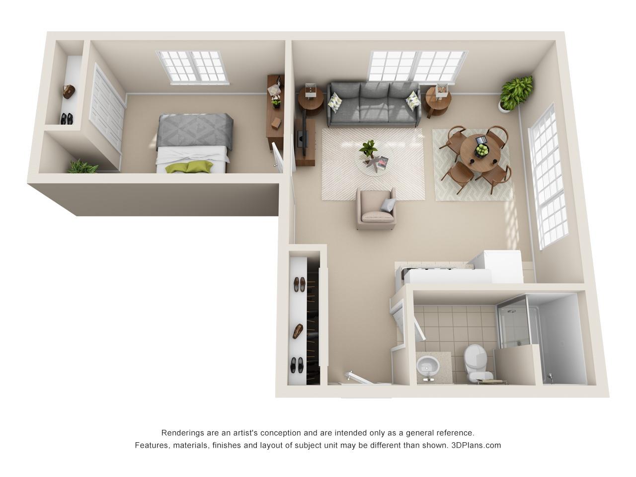 3D FH 1 Bed 525